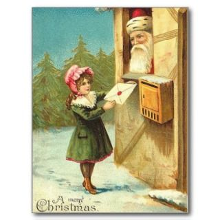 Victorian Girl Mailing Her Letter to Santa Post Cards