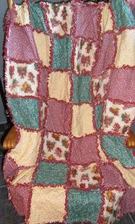 Angel Bear New Handmade Rag Quilt Throw 54x41 Christmas Holiday