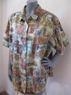 Liz & Me 3X Safari Print Giraffe Short Sleeve Aloha Hawaiian Shirt Top