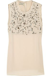 By Malene Birger Milena bead embellished crepe top   50% Off