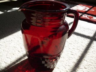 Vintage Anchor Hocking Royal Ruby 8T Windsor Pitcher