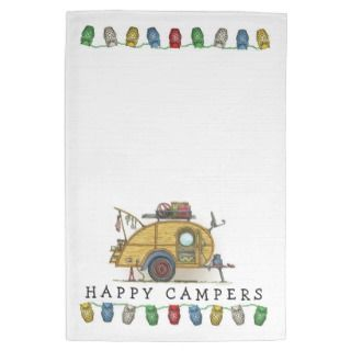 Cute RV Vintage Teardrop Camper Travel Trailer Hand Towel