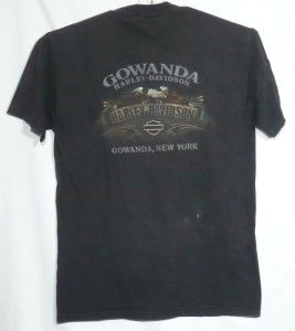 Harley Davidson T Shirt Gowanda New York Eagle Logo Red Motorcycle