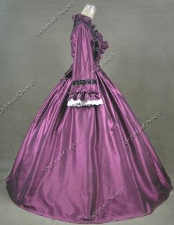 Civil War Victorian Satin Ball Gown Dress Reenactment 170 L