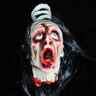 Halloween Prop Severed Head Display Life Hanging Blood Wig Dead