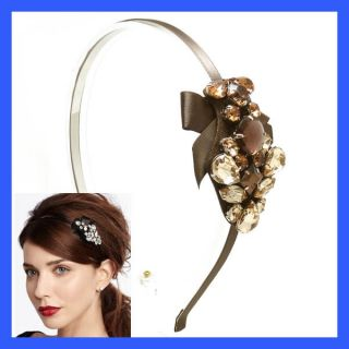 Hair Headband Cubic Bow Ribbon Bridal Headwrap Brown