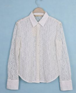 Women Sexy Lace Patchwork Perspective Long Sleeve Shirt Blouses 3771