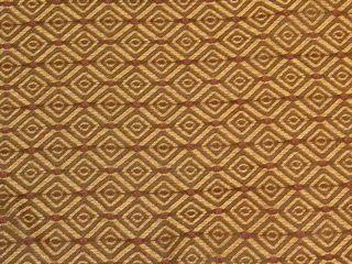 Trueman Mocha Brown Gold Maroon Diamond Pattern Upholstery Fabric BTY