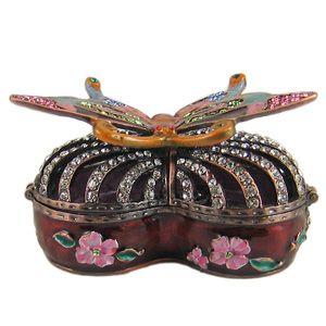 Butterfly Heart Shaped Trinket Box w Swarovski Crystals