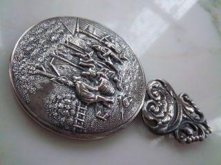 1900s Hans Jensen Whale Mark Denmark Silver Hand Held Beveled Mirror
