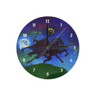 Headless Horseman in the Blue Light Wall Clock