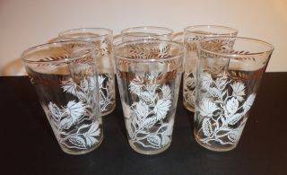 Vtg Libbey 1950s Juice Glass Glasses Frost White Gold Flower 6ct