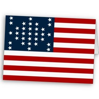 33 Star Fort Sumter American Civil War Flag Card