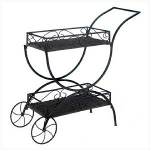 French Chic Black Flower Cart Curio Shelf