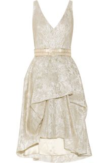 Lela Rose Belted metallic brocade dress