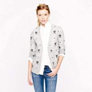 Soft Delicate J Crew Sequin Bow Cardigan Small NWT