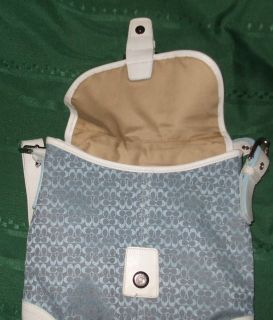 Baby Blue Khaki Leather 11x12 Coach Purse Adj Strap Tags Chrom