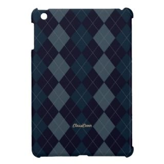 Argyle Deep Blue Pattern iPad Mini Cases