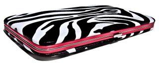 Zebra Print Clutch Hard Case Wallet with Pink Trim