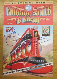 Crosby Stills Nash Signed COA 2003 Concert Poster Autograph Original