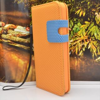 Dot Style Leather Orange Wallet Flip Hard Cover Case for Apple iPhone