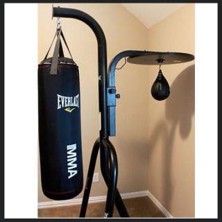 boxing mma 100 lbs 2 station punching heavy bag and speed bag stand