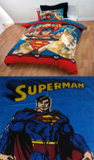 Superman Heavy Duty Queen Bed Quilt Cover Set 1 Free Towel Brand New
