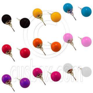 Plain Sold 9 Colors Plastic Candy Ball Earrings 1 2cm