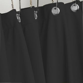 BLACK HEAVY VINYL SHOWER CURTAIN HOTEL WEIGHT METAL GROMMETS NEW