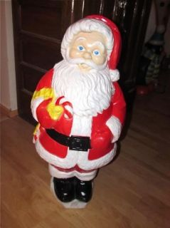Christmas Santa Claus & Candy Cane 30 Tall With Light Cord Blow Mold
