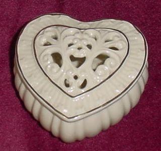 Lenox Pierced Heart Shaped Trinket Box w Gold Trim
