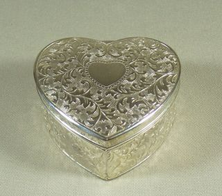 Silverplated Heart Shaped Hinged Trinket Box Red Velvet Lining Leaf