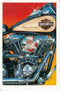 1996 Harley Davidson Santa Claus Christmas Holiday Greeting Card with