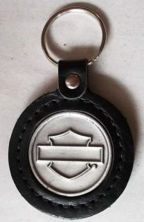 Harley Davidson key chain key ring round Bar shield logo embossed new