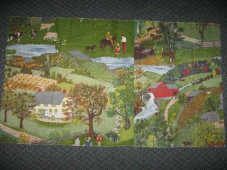 38x22 Fabric Panel Grandma Moses Childhood Home Barkcloth Galerie St