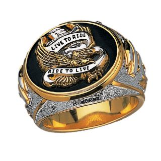 Harley Davidson Mens Silver Live to Ride Ring New