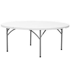 Heavy Duty White Granite Round Plastic Folding Table 29 High