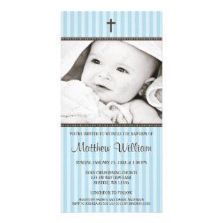 Tarjeta cruzada de la foto del bautismo del muchac tarjeta con foto