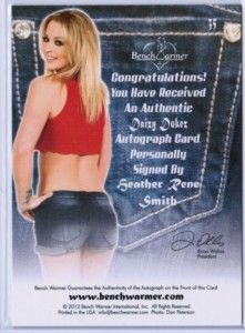 Heather Rene Smith 2012 Benchwarmer Daizy Dukez 17 25 Pink Auto