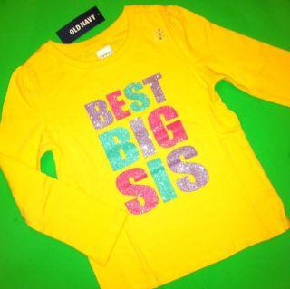 New Best Big SIS Baby Girls Sister Graphic Shirt 4T Gift Yellow Cute