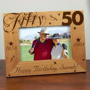 Personalized 50th Birthday Picture Frame Engraved Milestone Photo