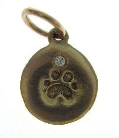are bidding on a helen ficalora 14kt rose gold diamond paw print charm