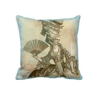 Marie Antoinette French Blue & Sepia Pillow