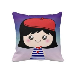 Cute Little French Girl Cartoon cushion Pillows