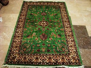 Grass Green Exclu Hand Knotted Rug Wool Silk Carpet 6x4