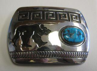 Sterling Silver Rosco Scott Navajo Bear Walking Buckle