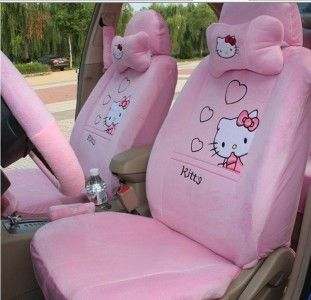 New Hello Kitty Car Auto Seat Front Rear Cover Cushion Heart 18pcs