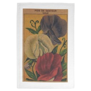 Vintage French Flower Garden Seed Label Towel