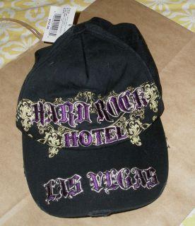 Hard Rock Hotel Las Vegas Black Baseball Cap Hat NWTS Purple Gothic