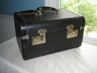Vintage Antique Black Makeup Hard Side Train Case Mirror